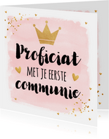 Felicitatie Communie waterverf roze goud