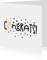 Felicitatie congrats gouden ring en confetti