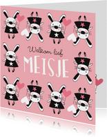 Felicitatie dochter handgetekend konijn roze  - MW