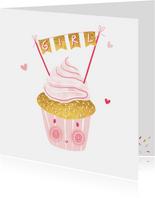 Felicitatie dochter happy cupcake roze