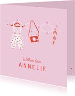 Felicitatie dochter kleertjes roze/rood