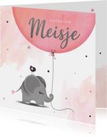 Felicitatie dochter olifantje met ballon en vogel