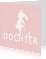 Felicitatie dochter silhouet bootje roze - MW