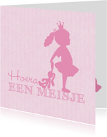 Felicitatie dochter silhouet knuffel roze - MW