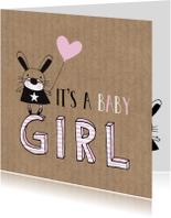 Felicitatie dochter silhouet konijn Kraft - MW