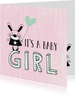 Felicitatie dochter silhouet konijn roze & mint - MW