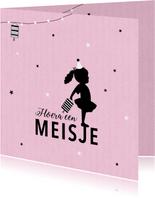 Felicitatie dochter silhouet lampion roze - MW