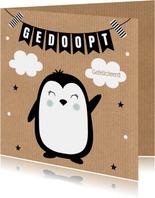 Felicitatie doop pinguïn kraft slinger