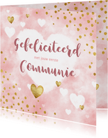 felicitatie eerste communie waterverf, hartjes en stipjes