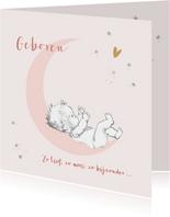 Felicitatie geboorte baby op roze maan met sterren
