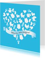Felicitatie geboorte hart blauw