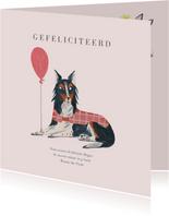 Felicitatie geboorte hond met ballon