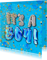 Felicitatie geboorte jongen - confetti