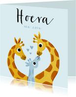felicitatie geboorte jongen met 3 giraffes en hartjes