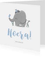 Felicitatie geboorte jongen met lieve olifant en vogeltjes