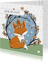Felicitatie geboorte jongen met vos en beertje
