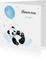 Felicitatie geboorte jongen pandabeertje ballon