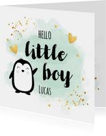 Felicitatie geboorte jongen pinguïn waterverf groen