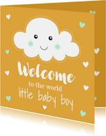 Felicitatie geboorte jongen wolkje okergeel