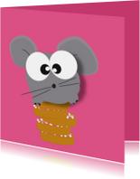 Felicitatie geboorte meisje - beschuit met muis - mocards