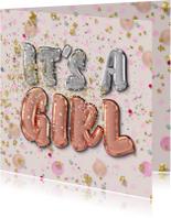 Felicitatie geboorte meisje - folie ballon