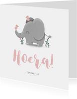 Felicitatie geboorte meisje met lieve olifant en vogeltjes
