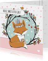 Felicitatie geboorte meisje met vosje en beer