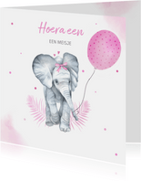 Felicitatie geboorte meisje olifantje ballon
