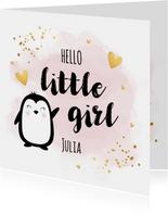 Felicitatie geboorte meisje pinguïn waterverf roze goudlook