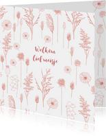 Felicitatie geboorte meisje roze bloemen