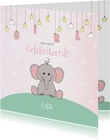 Felicitatie geboorte meisje  schattig olifantje en sterren