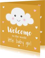 Felicitatie geboorte meisje wolkje okergeel