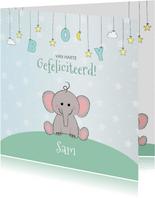 Felicitatie geboorte met een schattig olifantje en sterren