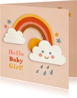 Felicitatie geboorte met regenboog en wolkje roze