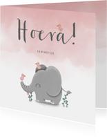 Felicitatie geboorte met waterverf, olifant en vogeltjes
