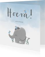 Felicitatie geboorte met waterverf, vogeltjes en olifant