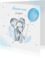 Felicitatie geboorte olifantje ballon