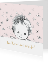 Felicitatie geboorte pentekening babyhoofdje lichtroze