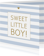 Felicitatie geboorte - Strepen blauw