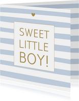 Felicitatie geboorte strepen blauw