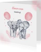Felicitatie geboorte tweeling meisjes olifantjes