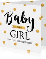 Felicitatie geboorte typografie gouden stippen