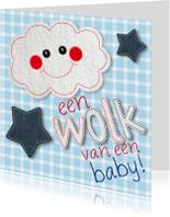 Felicitatie geboorte wolk boy