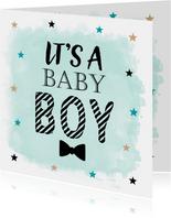 Felicitatie geboorte zoon waterverf sterren