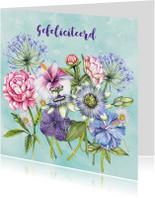 Felicitatie gekleurde bloemen