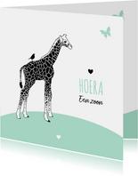 Felicitatie - Giraf met vlinder en vogeltje
