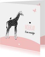 Felicitatie - Giraf met vogel en vlinder