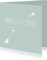 Felicitatie groen vogel hart