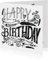 Felicitatiekaarten - Felicitatie Handlettering Veren