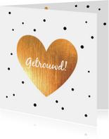 Felicitatie -Hart goud, stippen